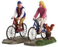 Lemax 52131 ROMANTIC BIKE RIDE Set of 2 Figurine Retired Christmas Village bcg