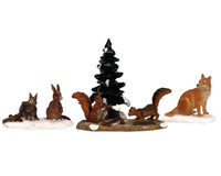 Lemax 12516 WOODLAND ANIMALS Set of 4 Figurines Christmas Village Figures bcg