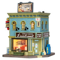 Lemax 55966 COIN-O-MATIC LAUNDROMAT Jukebox Junction Building Christmas Village Decor bcg