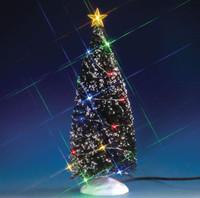 "Lemax 74263 MULTI COLOR LIGHT EVERGREEN TREE LARGE 9"" Christmas Village Landscape Accessory bcg"
