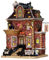 Lemax 15197 BROOMSTICK MANOR Spooky Town Building Retired Halloween Decor bcg