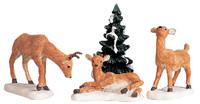 Lemax 92299 DAD AND FAWNS Set of 4 Figurines Christmas Village Figures Deer bcg