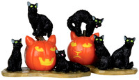 Lemax 12883 HALLOWEEN CATS Set of 2 Spooky Town Figurine Decor Figure Pumpkins bcg