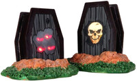 Lemax 34621 LIGHT UP COFFINS Spooky Town Accessories Retired Halloween Decor bcg