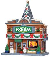 Lemax 35587 KGEM RADIO STATION Plymouth Corners Building Christmas Village bcg