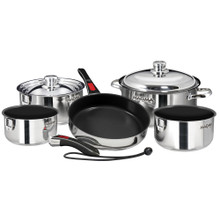 Magma Nesting 10-Piece Cookware - Stainless Steel Exterior & Slate Black Ceramica Non-Stick Interior A10-366-2