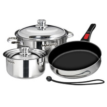 Magma Nesting 7-Piece Induction Compatible Cookware  A10-363-2-IND - w/SS Exterior & SB Ceramica Non-Stick Interior