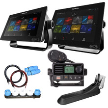 "Raymarine Axiom12 RV Combo Boat in a Box with 1 - 9"" Axiom Display, 1 - 12"" Axiom Display, RV-100 Transducer, LNC2 Charts, Ray53, Switch & Cables"