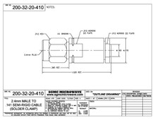 200-32-20-410:  2.4mm MALE TO .141 SEMI-RIGID CABLE (SOLDER CLAMP)