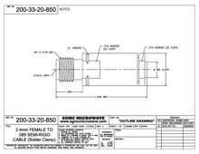 200-33-20-850:  2.4mm FEMALE TO .085 SEMI-RIGID CABLE (SOLDER CLAMP)