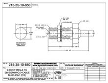 215-35-10-850:  2.92mm FEMALE TO .085 SEMI-RIGID CABLE BULKHEAD (DIRECT SOLDER)