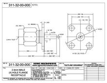 311-32-00-000:  2.4mm MALE (4) HOLE FLANGE RECEPTACLE