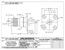311-33-00-000:  2.4mm FEMALE (4) HOLE FLANGE RECEPTACLE