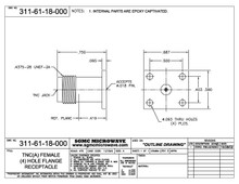 """311-61-18-000:  TNC(A) FEMALE (4) HOLE FLANGE RECEPTACLE (ACCEPTS .018"""" DIA PIN)"""