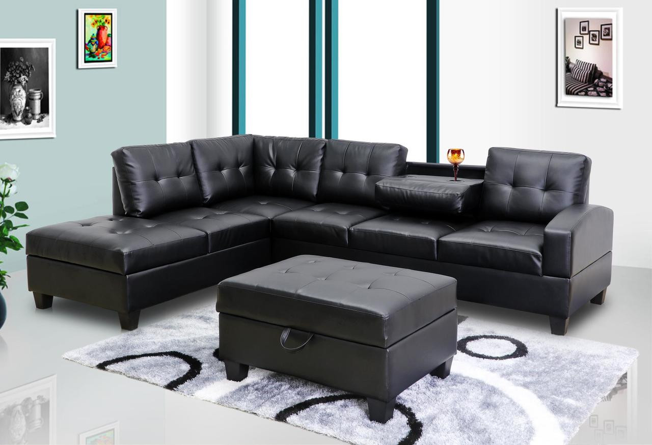 Peachy Black Sectional With Ottoman Gmtry Best Dining Table And Chair Ideas Images Gmtryco
