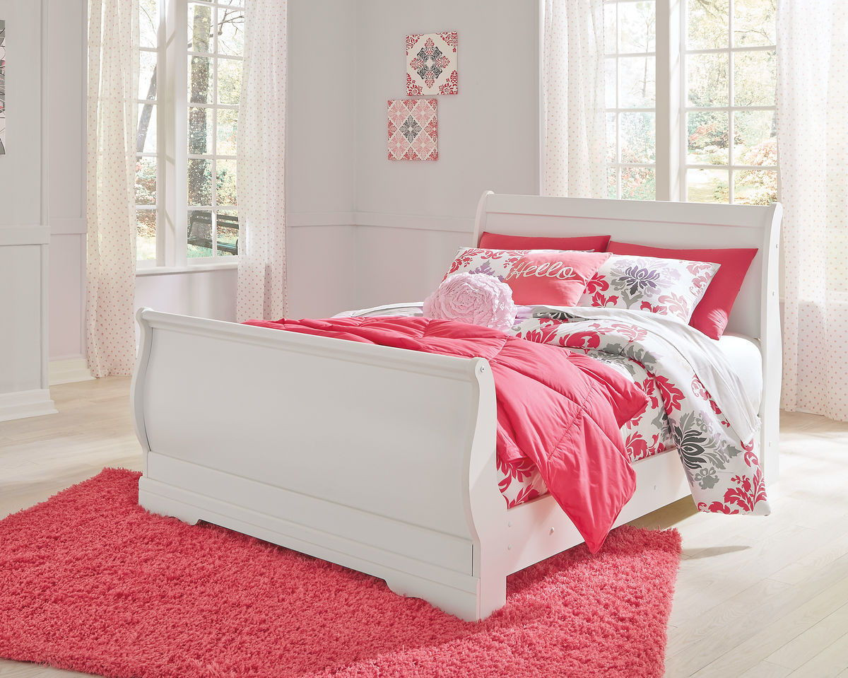 The Anarasia White Full Sleigh Bed Available At Furniture