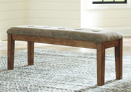 Flaybern Light Brown Large Upholstered Dining Room Bench