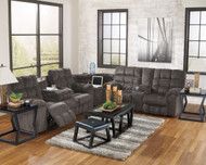 Acieona Slate 3 Pc. Reclining Sofa with Drop Down Table, Wedge & Double Rec Loveseat with Console
