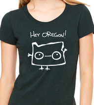Oregon Womens Fitted T Shirt with Oregon waving at all it's fans. Be Good Monster Cute Shirt in all kinds of colors!
