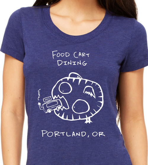 Portland Food Trailers are Popping all over the place. Lucky thing for hungry Monsters! This Food Cart Dining Womens T is Hand Printed by Matt Wayne with Love., food truck t shirts, food street, street food trucks.