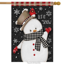 Celebrate Winter Snowman Primitive House Flag