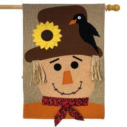 Autumn Scarecrow Burlap House Flag