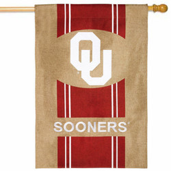 Oklahoma Sooners NCAA Burlap House Flag