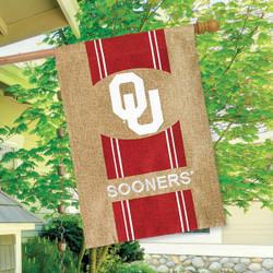 Oklahoma Sooners NCAA Burlap House Flag