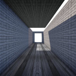 Square grey tunnel showing perspective