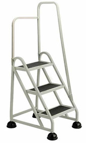 Cramer Three Step Stop-Step Rolling Stair Ladder 1031R-19 - Right Handrail