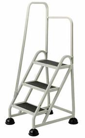 Cramer Three Step Stop-Step Rolling Stair Ladder 1031L-19 - Left Handrail