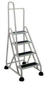 Cramer Four Step Stop-Step Rolling Stair Ladder 1041L-19 - Left Handrail