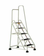 Cramer Five Step Stop-Step Rolling Stair Ladder 1051R-19 - Right Handrail
