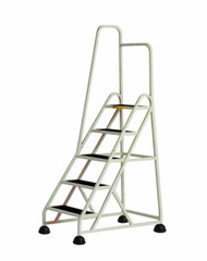 Cramer Five Step Stop-Step Rolling Stair Ladder 1051L-19 - Left Handrail