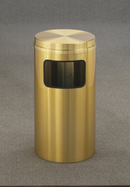 Glaro C1566BE Atlantis Flat Top Trash Can, 15 x 31, 10 Gallon - Satin Brass