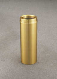 Glaro F924BE Atlantis Funnel Top Trash Can, 9 x 24, 6 Gallon - Satin Brass