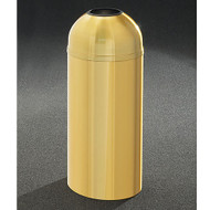 Glaro T1530BE Atlantis Open Dome Top Trash Can, 15 x 30, 12 Gallon - Satin Brass