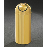 Glaro S1230BE Atlantis Self-Closing Dome Top Trash Can, 12 x 30, 8 Gallon - Satin Brass