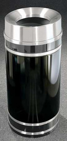 Glaro Monte Carlo Satin Aluminum Funnel Top Trash Can, 15 x 33, 16 Gallon, F1556