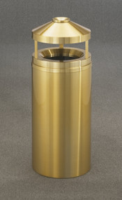 Glaro H1502BE Atlantis Canopy Top Ash and Trash Receptacle, 15 x 39, 16 Gallon - Satin Brass