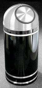 Glaro Monte Carlo Satin Aluminum Self-Closing Dome Top Trash Can, 15 x 30, 12 Gallon, S1556