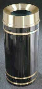Glaro F1555 Monte Carlo Satin Brass Funnel Top Trash Can, 15 x 33, 16 Gallon
