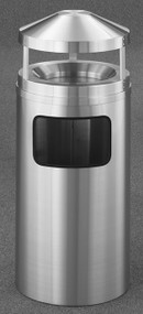 Glaro H2003SA New Yorker Canopy Top Ash and Trash Receptacle, 20 x 42, 17 Gallon - Satin Aluminum