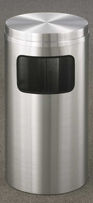 Glaro C1566SA New Yorker Flat Top Trash Can, 15 x 31, 10 Gallon - Satin Alauminum