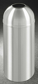Glaro T1530SA New Yorker Open Dome Top Trash Can, 15 x 30, 12 Gallon - Satin Aluminum