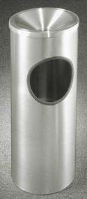 Glaro F192SA New Yorker Funnel Top Ash and Trash Receptacle, 9 x 23, 3 Gallon - Satin Aluminum