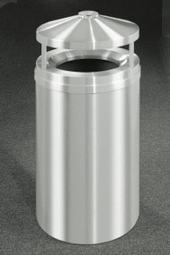 Glaro H2002SA New Yorker Canopy Top Ash and Trash Receptacle, 20 x 42, 33 Gallon - Satin Aluminum