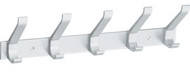 Peter Pepper 2141XL Aluminum Wall Mount Hat and Coat Rack / Coat Hook Panel - 5 Double Prong Hooks