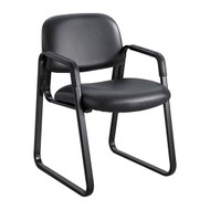 Safco 7047BV Cava Urth Sled Base Side Chair - Black Vinyl