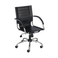 Safco 3456 BL Flaunt Managers Chair - Black Leather